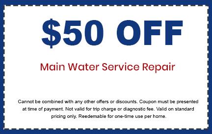 Discounts on Main Water Service Repair